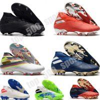 Lacess Messi Nemeziz 19+ FG MENS JUVENOS JUNIOR Botas de fútbol activo Red Chrome Empresa impermeable Zapatos de fútbol Tapete firme