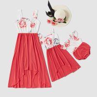 Famiglia Vestiti uguali grande fiore che impiomba bordo irregolare del vestito di estate floreale figlia madre bambino di corrispondenza del vestito del bambino del genitore Dress S466