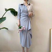Vestidos casuales SisJuly Women Otoño Color de Color Vestido Plisado Pensado Single-Breasted Diseñador Asimétrico Estilo Coreano Vestido