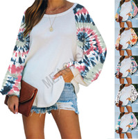 Tie-dye Blouses Patchwork femmes Plus Size Fashion Designs Sweats à capuche Hauts manches longues col rond T-shirts Sweats Vêtements S-3XL D81104
