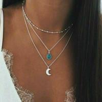 Frauen Multilayer Choker Halsketten Türkis Sun Moon Anhänger Neue Mode Stein Schmuck Geburtstagsgeschenke Link Kette Halskette Gold Silber Farbe