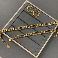 Europa Amerika Modeschmuck Sets Frauen Dame Antike Gold-Finish Metall D Brief Dicke Kette Choker Halsketten Armbänder Ohrringe