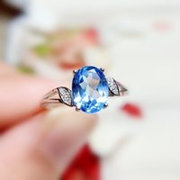 Naturale vera topazio azzurro anello ovale foglie stile Per gioielli 6 * 8mm 1.6ct pietra preziosa 925 gioielli in argento sterling Belle T20895