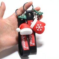 Erkekler Kadınlar için Noel Anahtarlık Anahtarlık Karikatür XMAS Eldiven Şapka PVC Silikon Anahtarlık Çanta Araba Anahtarı kolye Zincir Takı Noel Hediyesi