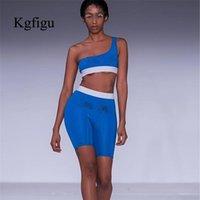 KGFIGU 2 шт набор женщин 2020 спортивный костюм женщины фестиваль одежды топы без рукавов один плечо и байкер нерегулярные