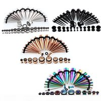 36pcs 14G-00G Bouchons en acier inoxydable chirurgical Tapers oreille Stretching Kit évasé vis extension oreille Tunnel Piercing Costume Bijoux