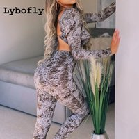 Tute da donna Tuta Lybofly Set Scava fuori Sexy 2 Pezzo Set Donne Lace Up Crop Top Lungo Pant Leggings Manica Shood Loungewear Primavera Estate
