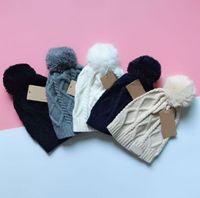 جديد الخريف والشتاء النساء pompon بيني محبوك القبعات فاخرة قبعة السيدات الأزياء والإكسسوارات 5 اللون