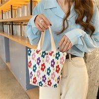 قماش صغيرة جديدة للنساء حقائب التجاعيد مطبوعة حقيبة يد لطيف الغداء صديقة للبيئة صغيرة من القماش حقيبة حقيبة