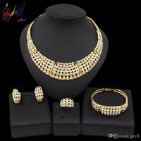 Yulaili classique africaine or Collier Boucles d'oreilles Bracelet Bague Bijoux en cristal nigérien de mariée Sets Livraison gratuite