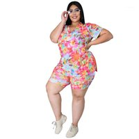 Verano de manga corta Imprimir 2 piezas de la mujer traje de dos piezas traje de tamaño extra grande de las mujeres Ropa para mujer chándales de diseño