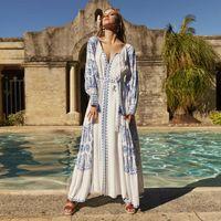 Jastie Bahia Maxi платье лета женщин осень с длинным рукавом вышивка Vintage длинное платье 2020 Boho пляж Хиппи дряблая Vestidos Mujer