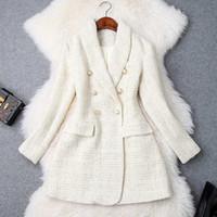Pist 2020 tasarımcı blazer kadın çift göğüslü metal düğme uzun kollu çentikli yaka ceket yün karışımları tüvit blazer ceket