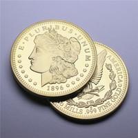 24K 골드 도금 1896 모건 달러 전체 미국 동전 홈 공예 미술 컬렉션