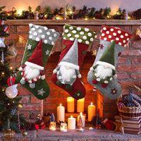 Meias Gift Bag Decorações de Natal Crianças Doce Sock presente meias Cordeiro Faceless boneca Xmas pingente de presente interior Sacos de alimentação EEA2064