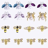Gold 10pcs CZ Spinne Anhänger 8type Echt Vergoldete Messing, Spinne / Bee Strass Nageldesign Schmuck Metall Nagelkunst 12x12mm