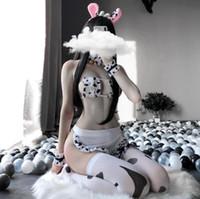 Sistemas de sujetadores Linda niña japonesa sexy cola novia vaca doncella cosplay disfraces bikini traje de baño anime lencería lencería lolita sostén y bragas conjunto