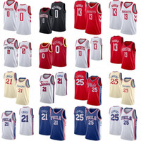 H-Town James 13 Harden Russell 0 Westbrook Basketball Jersey Sitichtiert Ben 25 Simmons Joel 21 Embiid City Basketball Shirt