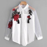 Mulheres Blusas Camisas Floral Blusa Bordada Camisa Mulheres Slim White Tops Casuais Malha de Manga Longa Mulher Escritório Femme Blusas