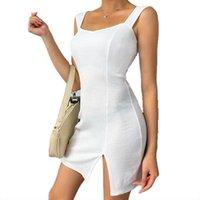 캐주얼 드레스 여름 숙녀 파티 솔리드 컬러 백 중공 민소매 슬림 스트랩 바디 콘 드레스 여성 Vestido 의류