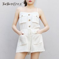 White Casual Jumpsuit For Women Square Collar Sleeveless Lac...