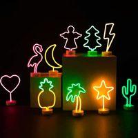 LED 네온 사인 밤 빛 선인장 플라밍고 독특한 디자인 부드러운 빛 벽 장식 램프 네온 장식 방을위한 밝은 플라밍고 벽 빛 서명