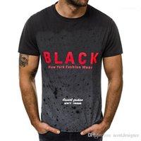 Casual camiseta de manga corta para hombre transpirable verano Tops Ropa para Hombres Rojo NEGRO impresa letra del gradiente para hombre