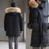 Adamın Aşağı Palto Parkas Kış Ceket erkek 2021 Üst Qulaity Moda Sıcak Ceket Uzun Gerçek Kurt Kürk Yaka Kapşonlu Doudoune Homme Giyim