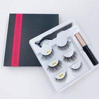 Mais recente 3Pairs / set Cílios magnéticos cílios falsos + Líquido Eyeliner + pinça maquiagem dos olhos definir ímã 3D Cílios postiços Não cola necessária