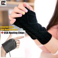 Fünf Fingers Handschuhe 10P Winter warmes Mädchen Studenten Hausaufgaben Trennen Stil USB Heizhandschuhe, Frauen Büro Handrücken Beheizte Strickfiebe