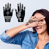 Henna tatuagem stencils mehndi india henna tatuagem stencil kit para mão pintura dedo corpo pintura 6 pcs modelos de tatuagem temporária 100sets