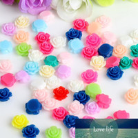 100 / lot Mischfarben 10 mm Plastikblumen Rose DIY beads flachen Harz cabochon mit Pailletten craft