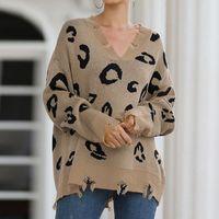 Camisolas das mulheres outono Inverno Leopardo Impressão Pullovers Moda Casual para Mulheres Boho Loose Lookper Manga Longa Camisola De Malha