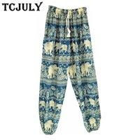 Calças femininas capris tcjuly bohemian estilo elefante padrões impresso harem mulheres cordão tornozelo amplo calças largas senhoras verão fresco