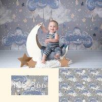 Fondos de fotografía recién nacido lloviendo oscuro nubes de estrellas del fondo fotográfico Baby Shower Decoración Photocall Estudio