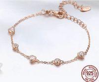 Avrupa Moda Kalp Basit Yaşam Tarzı 925 Gümüş Rose Gold E-Kaplama Zirkon Çatal Ayar 22cm Yılan Zincirler Kadınlar Bilezikler