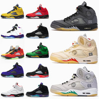 Nike Air Jordan 5 5s Off White Jordan Retro 5 2020 فاخر Jumpman 5 اسود اسلامية الإبحار أحذية الرجال لكرة السلة ما 5S 5 البديل النساء الرجال المدربين أحذية رياضية الرياضية