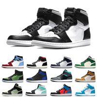 Fumaça Cinza 1 Alto Og Mens Barely Volt Black and Gold Bred dedo Banned Toe Chicago Sapatos de Basquete 1S Treinadores Homens Homens Mulheres Esportes Sneakers