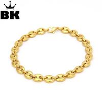 بلينغ كينغ 8 ملليمتر الفولاذ المقاوم للصدأ مارينر لينك سلسلة سوار الذهب والفضة اللون مطلي رجل 22.5 سنتيمتر مجوهرات جراد البحر المشبك
