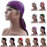 Long Tail Durag Hip Hop Turbante Unisex traspirante Cappello Bandana raso serico Durag Do Doo Rag Du Long Tail Headwrap Headwear