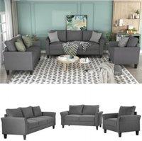 Classic di alta qualità adulti relaxable U_STYLE poliestere-blend 3 pezzi sofà, Set Soggiorno Divani letto WY000036EAA