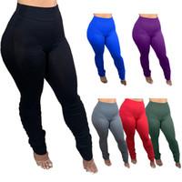 LU-32 pantalones sólidos del yoga las mujeres del color de cintura alta Deportes desgaste de la gimnasia de las polainas de la aptitud elástico Lady general medias completas 6clours