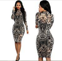 Las mujeres atractivas del tatuaje tribal de impresión Sheer ajustado de paquete de manga larga vestido de Negro Hip vaina vestido de fiesta