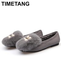 TIMETANGWinter Woman Shoes Flocking Ballet flats Loafers Slip on Toe Sandals Square fur Shoes Shallow pearl E965