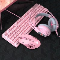 Keyboard Mouse Combos Pink Real Mechanical And Set With Blue Switch Cute Girls E-sports Gamer Computer Peripherals