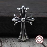 S925 mode personnalité broche en argent sterling simple croix fleur lettre forme de punk cadeau forme de bijoux de la danse de rue chaude pour les amoureux