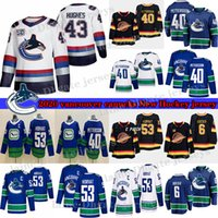 Vancouver Canucks # 40 Elias Pettersson # 43 Quinn Hughes # 6 Brock Boeser # 53 Bo Horvat 33 Henrik Sedin 10 Pavel Bure الهوكي الفانيلة