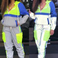 Zwei stück Kleid Frauen Trainingsanzüge 2 Set reflektierende Reißverschluss-Kropp-Jacke Hosen Hip Hop Mode Weibliche Lose Neongrün Mantelhose Plus Größe