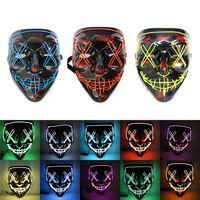 10 Farben! Halloween Furchtsame Party Maske Cosplay LED Maske leuchten El Wire Horror Mask für Festival Party A12