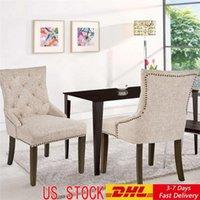 US-Aktien 3-5 Tage Liefer Dining Stuhl mit Armlehne, Nailhead Trim, Leinen Polster 2er-Set (beige) WF010762AAA